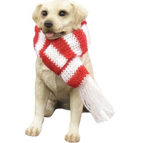Sandicast Yellow Labrador Retriever with Red and Green Scarf Christmas Ornament