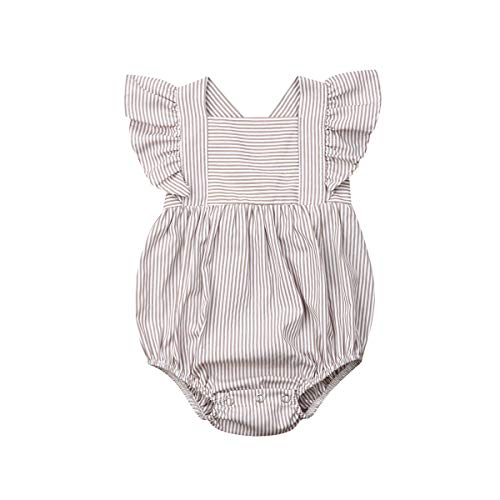 Newborn Baby Girl Romper Floral Print Vintage Jumpsuit Outfit Playsuit Clothes (12-18M, Style 4-Light Grey)