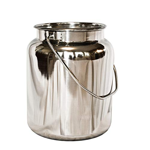 (10 Qt Stainless Steel Milk Can Tote. Solid & Seamless, Easy Carry)
