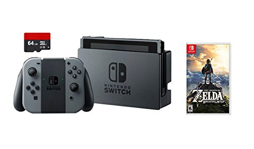 Nintendo Switch 3 items Game Bundle:Nintendo Switch 32GB Console Gray Joy-con,64GB Micro SD Memory Card and The Legend of Zelda: Breath of the Wild Game Disc