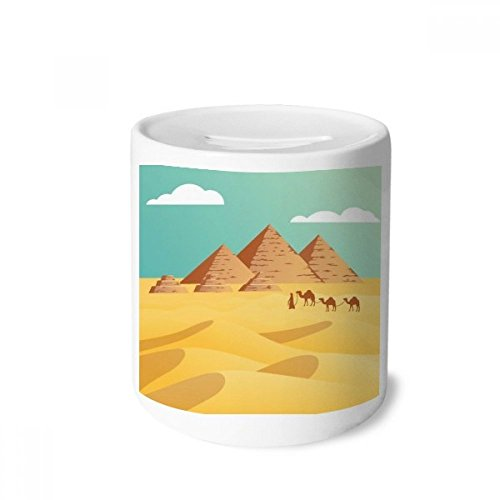 DIYthinker Ancient Egypt Pyramid Camel Pattern Money Box Saving Banks Ceramic Coin Case Kids Adults