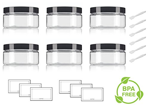 8 Ounce Plastic Jar (Clear PET Plastic (BPA Free) Refillable Low Profile Jar - 8 oz (6 pack) + Spatulas and Labels)