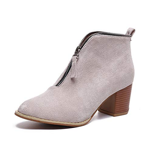 - LONGDAY ⭐ Short Zip-on Ankle Boot Western Cowboy Bootie Block Heel Heel Casual Platform Slip On Pumps with Pull-Up Tabs Beige