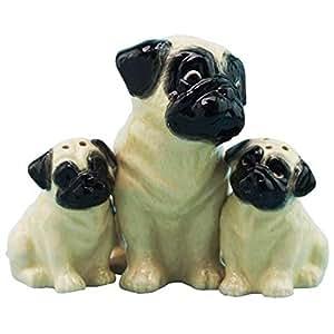 Westland Giftware Mother & Baby Pugs Magnetic Ceramic Salt & Pepper Shaker Set, Multicolor