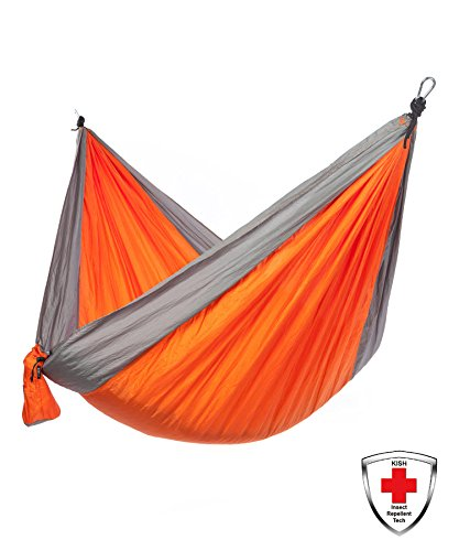 Made With KISH Bug Repellent Just Relax Single Portable Lightweight Camping Hammock, 10.6x5 Feet (Orange-Grey)