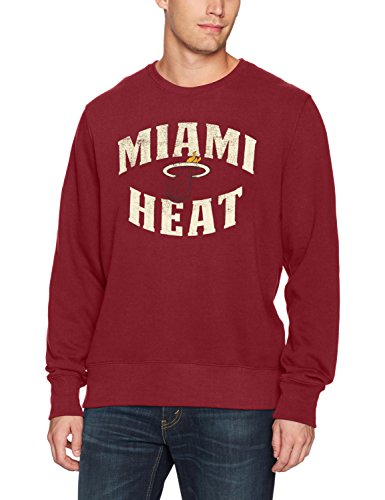 Heat Hoody Logo Miami - NBA Miami Heat Men's Ots Fleece Crew Distressed, Large, Red