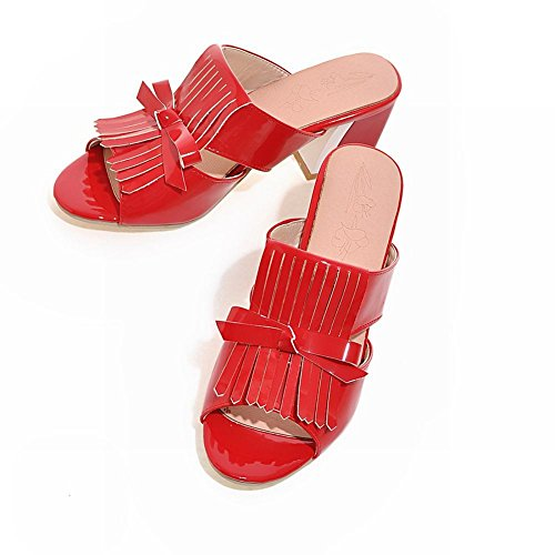 Carolbar Womens Bowknots Patent Leather Tassels Fashion Chunky Mid Heel Sandals Slippers Red 3BKs5r1srP