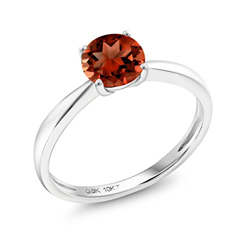 (Gem Stone King 1.00 Ct Round Red Garnet 10K White Gold Solitaire Ring (Size 7))