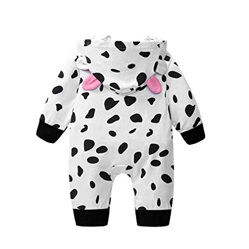 Noopvan Newborn Toddler Baby Hooded Outfits Clothes,Boys Girls Cow Print Romper Jumpsuit Black, 12M