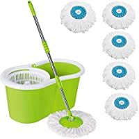 MOP'N'ME Easy Magic Floor Mop 360 Degree Bucket 5 Heads Microfiber Spin Spinning Rotating Head (Color May Vary)