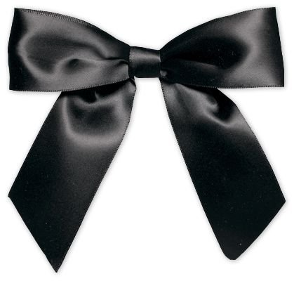 Bows - Black Pre-Tied Satin Bows, 7/8