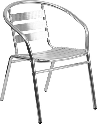 Flash Furniture Commercial Aluminum Indoor-Outdoor Restaurant Stack Chair with Triple Slat Back and Arms by Flash Furniture