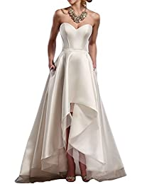 Strapless Sweetheart vestidos de novia Simple High low Bridal Wedding Dresses M0155