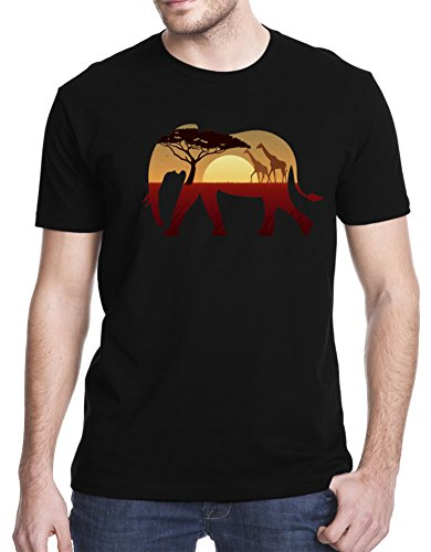 Elephant African Landscape T-Shirt, XL, Black (Save The Animals Merchandise compare prices)