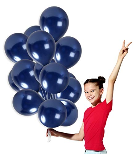 Metallic Dark Navy Blue Balloons 12 Inch Midnight Thick Latex Pack of 36 and 22 Yards Curling Ribbon Party Supplies for Wedding Birthday Bridal Shower Party Decor -