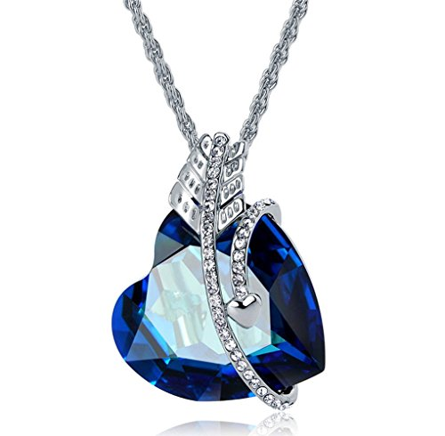 [The Starry Night Deluxe Diamond Accented Feather Love Heart Blue Crystal Pendant Silver Necklace] (Blade Of Grass Costume)