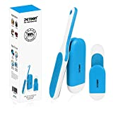 PETDOM Lint Brush with Sturdy Handle - Double-Sided Pet Hair Remover with Self-Cleaning - Removes Dog Cat Fur from Clothing, Furniture - Travel Size Included (Blue)