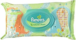 Pampers Natural Clean Wipes Travel Pack 64 Count