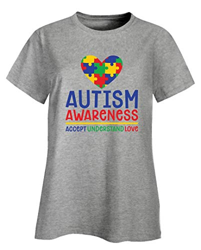 (Autism Awareness - Accept Understand Love - Ladies T-Shirt Ash Grey)