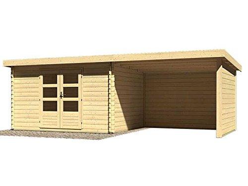 Karibu Woodfeeling Gartenhaus Bastrup 7 mit Schleppdach 3 Meter und Rückwand Außenmaß (B x T): 357 x 297 cm Schleppdach: 300 cm Wände: Seiten- und Rückwand Dachstand (B x T): 714,5 x 333 cm Wandstärke: 28 mm Bauweise: Blockbohlenbauweise