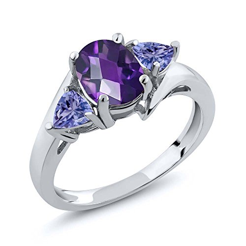 1.42 Ct Oval Checkerboard Purple Amethyst Blue Tanzanite 925 Sterling Silver Ring (Size ()