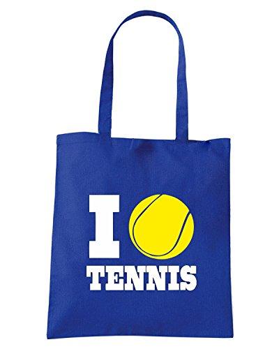 T-Shirtshock - Bolsa para la compra TLOVE0140 i love tennis (3) Azul Real