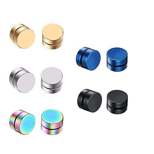 Juland 5 Pairs Circle Round Magnetic Stud Earrings Non-Piercing Clip On Hypoallergenic Stainless Steel Unisex Punk Style - Gold Silver Black Blue Multicolor - 10mm