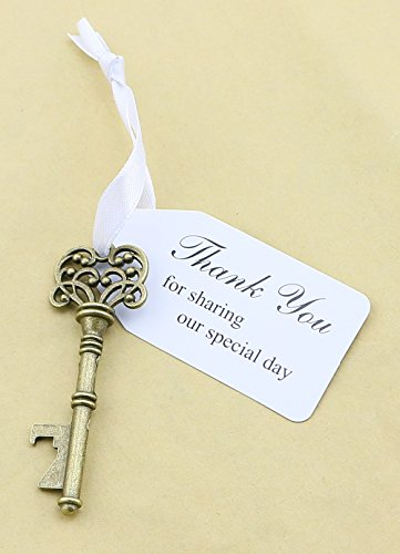 50pcs Wedding Favors Key Bottle Opener with Ribbon Escort Tag Card Thank you for sharing our special day (Key Style #5)