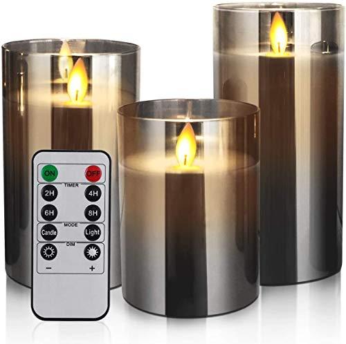 """YMing LED Kaarsen Vlamloze Kaarsen 4 """"5"""" 6″ Set van 3 Real Wax Licht, Batterij Operated Kaarsen Grijs Glas Pijlers Realistische flikkerende Wick Flame Mode, Lantaarn Kaarsen met Afstandsbediening 24 Uur Timer"""