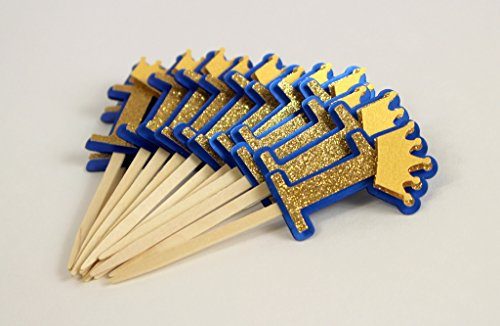 All About Details Royal Blue & Gold Crown Theme 1 Cupcake Topper, Set of 12