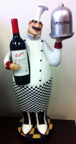 Fat Chef Kitchen Wine Bottle Holder Rack Table Top Art Statue 64196