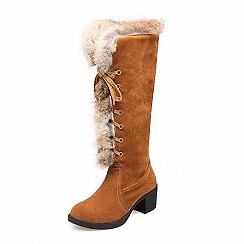 ZHUDJ Chaussures Pour Femmes Bottes D'Hiver Bottes Neige Confort Talon Bout Rond Bottes À Lacets Joint De Séparation Pour Amande Occasionnels brown H2Brp