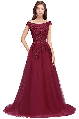 Babyonlinedress Women's Lace Appliques Cap Sleeve A line Long Evening Prom Gown