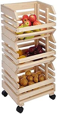 fruta Horde con ruedas, madera, caja apilable, caja de patatas verduras Cajas: Amazon.es: Hogar