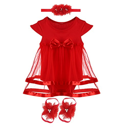 Baby Girl Dress Sandals (inSowni Baby Girl Bodysuit Dress With Headband Barefoot Sandals (S: 0-3 Months))
