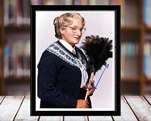 (Robin Williams Autograph Replica Print - 8x10 Desktop Framed Print - Portrait)