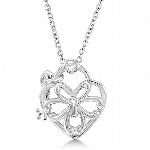 0.05ct Heart Lock and Key Pendant Necklace Diamond Accented Intricate Design .925 Sterling (0.05 Ct Diamond Key)