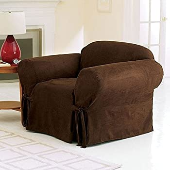 Sure Fit Soft Suede 1 Piece   Chair Slipcover   Chocolate (SF34539)