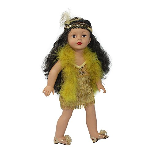 Arianna Fits American Girl 18 inch Doll - Roaring 20's Gold Flapper Costume - Dress - Headband - Boa - 18 inch Doll clothes - Boutique Quality She's Worth it! - Designed In USA Fit 18 Inch Dolls