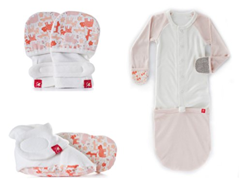 Goumikids Newborn 3 Piece Set- Non-Scratch Mittens, Stay On Booties, and All-In-One Jamms -Organic Baby Essentials, 0-3m