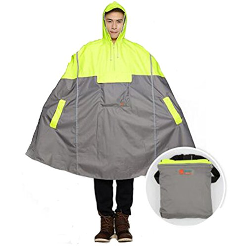 SudaTek New Lightweight Cycling Rain Poncho Bike Hooded Raincoat Rain Cape with Reflector Strips