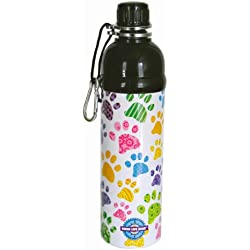 Good Life Gear Stainless Steel Pet Water Bottle, 16-Ounce, Baby Paw Print Design