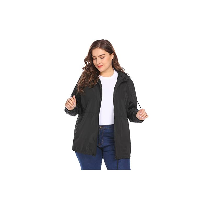de6de3f86e5 IN VOLAND Women s Plus Size Raincoat Rain Jacket Lightweight Waterproof  Coat Jacket Windbreaker with Hooded