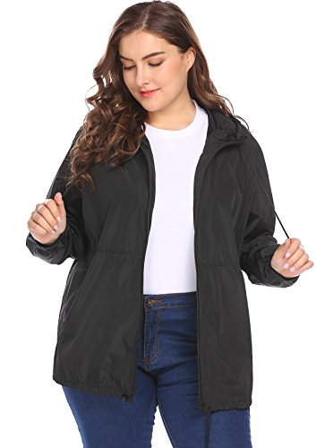 IN'VOLAND Women's Plus Size Raincoat Rain Jacket Lightweight Waterproof Coat Jacket Windbreaker with Hooded Black from IN'VOLAND