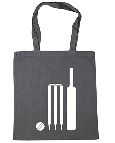 litres HippoWarehouse Bat 42cm x38cm Stumps and Cricket Grey 10 Bag Beach Tote Gym Shopping Graphite Ball wUwaBx