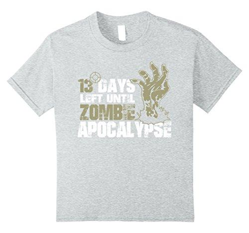 Kids 13 Days Left Until Zombie Apocalypse TShirt | Halloween Gift 10 Heather Grey (Days Left Until Halloween)