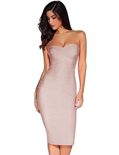 Meilun Women's Rayon Strapless Below Knee Bandage Bodycon Party Dress Black (Medium, Beige)