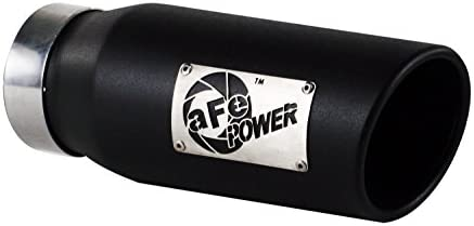 aFe 49-92011-B 3.5 Inlet x 4.5 Outlet x 12 Length 304 Stainless Steel Exhaust Tip with Wrinkle Black Finish Slash Rolled Cut Edge