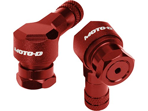 (MOTO-D Angled Motorcycle Valve Stems - Red (11.3mm))