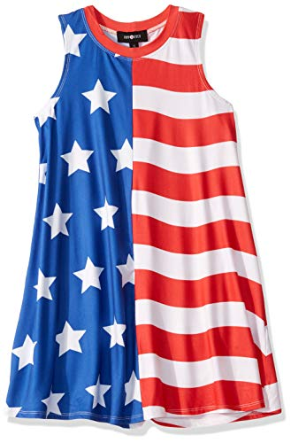 Amy Byer Girls' Big Everyday a-Line Dress with Necklace, American Flag, S